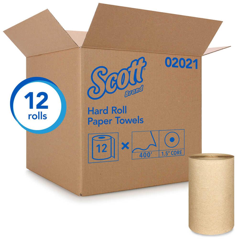 12 Rolls KCC02021 Scott 400 ft Brown Hard Roll Paper Towels