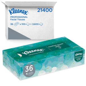 Kleenex White Facial Tissue, Flat Box